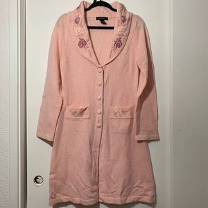 Arden B Lambswool Pink embroidered Long Cardigan